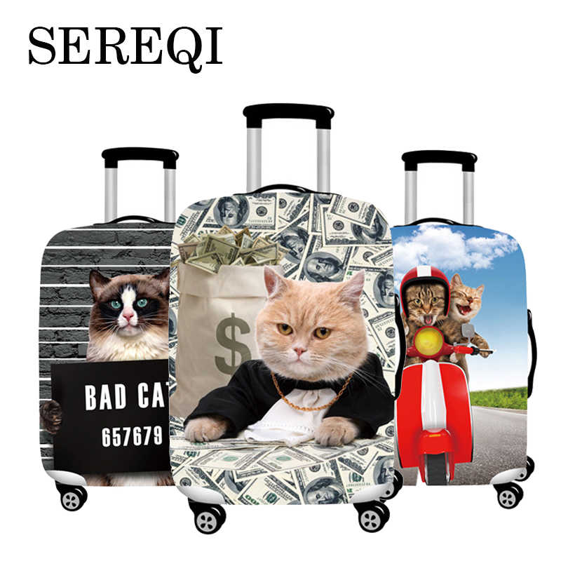 SEREQI Cute Cat Travel Luggage Cover For 18-32Inch Suitcase Baggage Protection Case Cover Trolley Dust Cover Travel Accessories