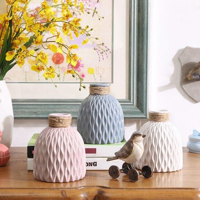 Modern minimalist style desktop ceramic flower vase European style fresh Ceramic vase Office home wedding decor accessories