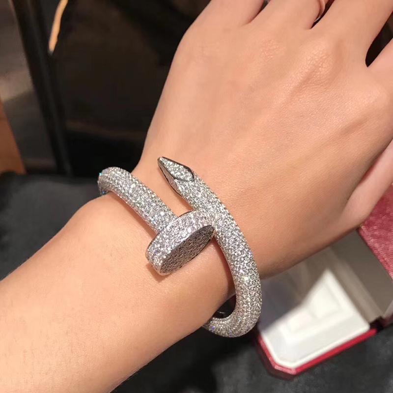 Hot Classic Brand Pure 925 Sterling Silver Jewelry For Women Men Full Stone Big Nail Bangle