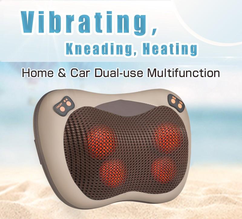 JinKaiRui Vibrating Kneading Neck Body Massager Hammer Pillow Infrared Shiatsu Electric Shoulder Back Massage Massages Car/Home 1