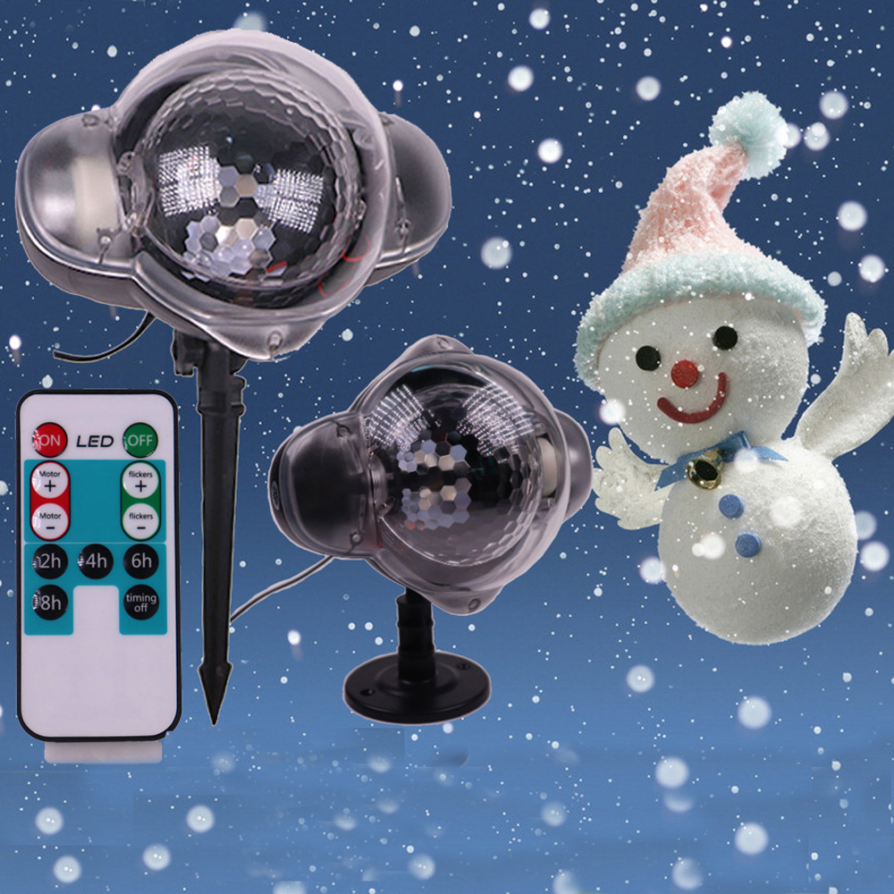 IP65 Christmas Holiday Moving Snowflake Projector Light , Snowfall Flurries Light for Home Garden Snow shower + Remote Control