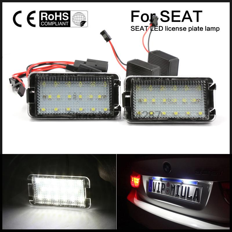 12V led license plate light lamp 7000K white led for SEAT ALTEA AROSA IBIZA CORDOBA LEON TOLEDO