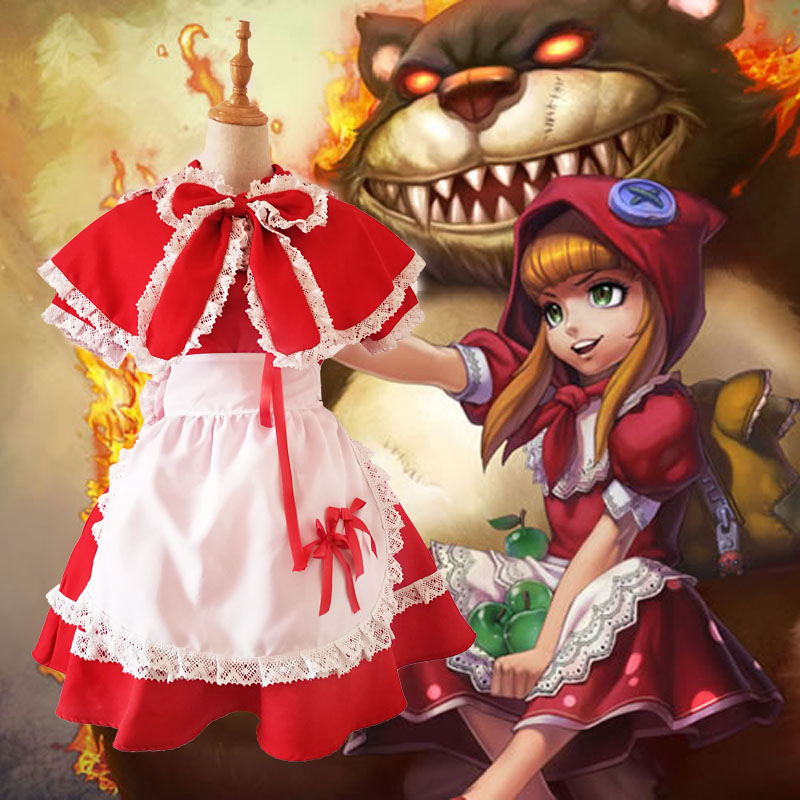 LOL Game the Dark Child Annie Cosplay Costume Maid Dress Little Red Riding Hood Women Fancy Party for Halloween Christmas