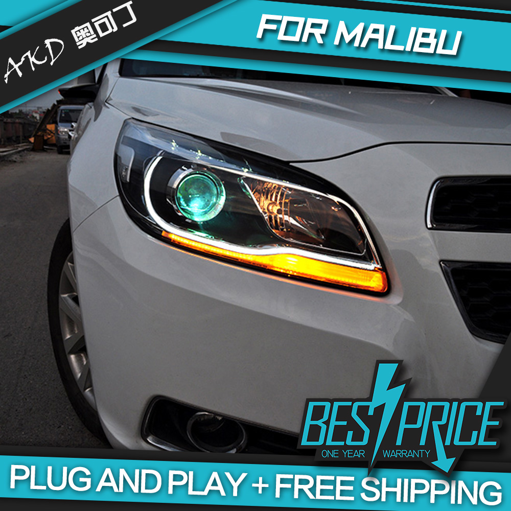 Akd car styling head lamp for malibu headlights led headlight high low beam drl bi