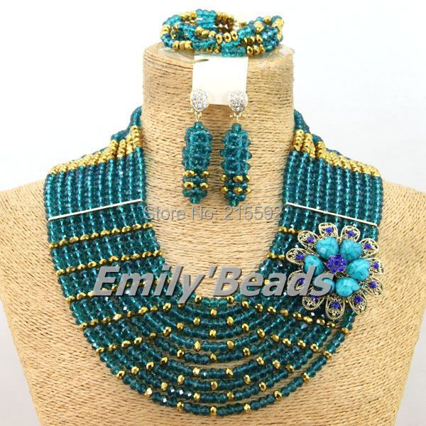 Wonderful African Beads Nigerian Wedding Jewelry Set Indian Bridal Crystal Beads Jewlery Sets 2015 Hot Free Shipping AEJ561