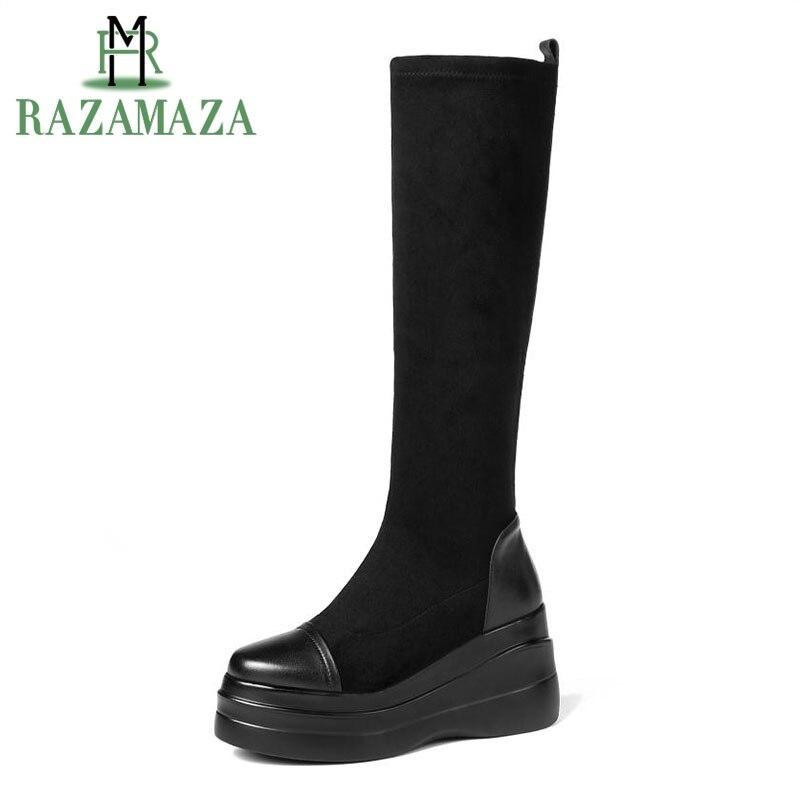 Razamaza Cuir Chaussures Plate Sur Bottes Chunky Stretch forme Noir Genou Fourrure Taille Véritable Chaud D'hiver En Talons 3540 Femmes 6gYf7yb