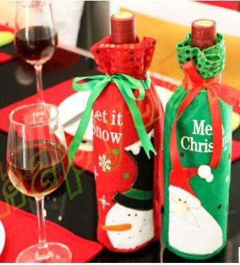1 Stks Home Party Rode Wijn Fles Cover Tassen Kerst Diner Tafel Decoratie Sneeuwpop Kerstman Herten Gift Voor Wijn Fles Zak Om Geavanceerde Technologie Te Adopteren