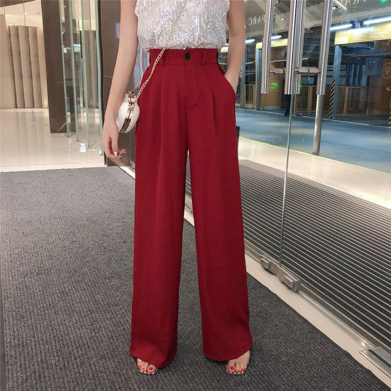 HziriP OL Style Fashion High Waist   Wide     Leg     Pants   Office Lady Solid 2019 Summer Casual Loose Solid Women Full Trousers 2 Colors