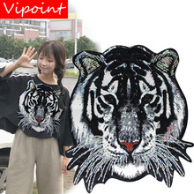 printing sequins tiger patches for jackets,cool badges jeans,applique coats A493