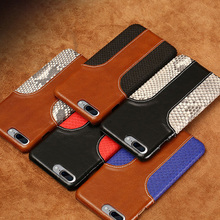 Wangcangli phone case snake skin fight wax leather back cover for iphone 7 mobile set all hand-made custom processing
