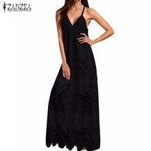 ZANZEA Fashion Cream White Deep V Neck Split Slip Sleeveless Long Dresses 2017 Womens Summer Beach Wear Maxi Dress Plus Size 5XL