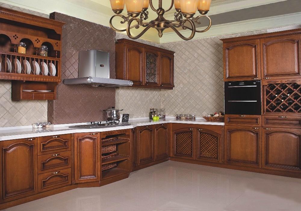 Pine Wood Kitchen Cabinet / Solid Wood, PVC Laminate, Wood