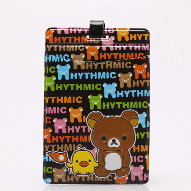 Travel Label Bag-Accessories Luggage-Tag Suitcase Square Cute PVC Cartoon Bear Card-Holder