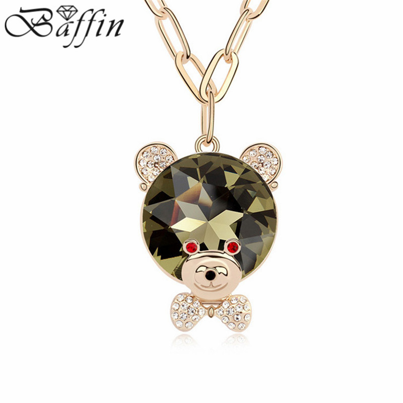 Fashion Crystal Bear Pendants Necklace Long Chain Sweater Collares Women Children Jewelry Wholesale