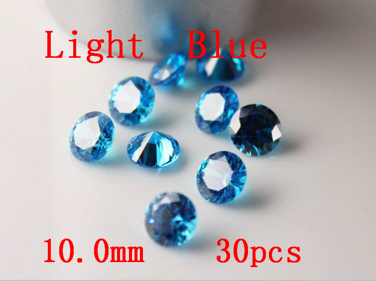MRHUANG bijoux fournitures zircon cubique AAA bleu clair 7/8/9/10mm rond zircone bijoux à bricoler soi-même fournitures - 4