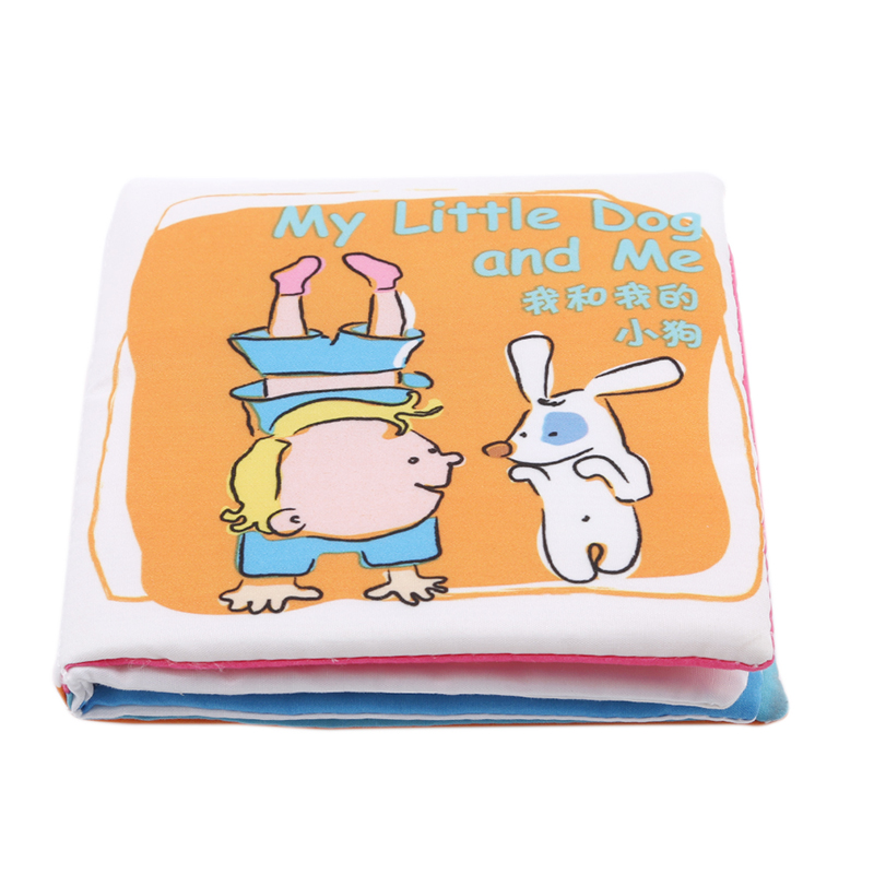 New Arrivals Baby Cute Intelligence Educational <font><b>Toys</b></font> Baby Crinkle Soft Fun Cloth Books I Love <font><b>Papa</b></font> <font><b>Mama</b></font> Brother Dog Children image