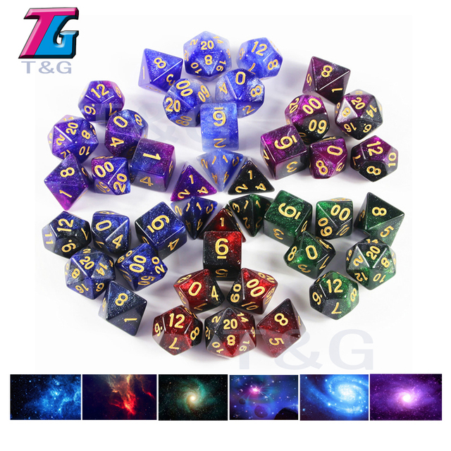 Hot New Super Universe Galaxy 7pcs Dice D4 D20 Shinny Glitter Cool