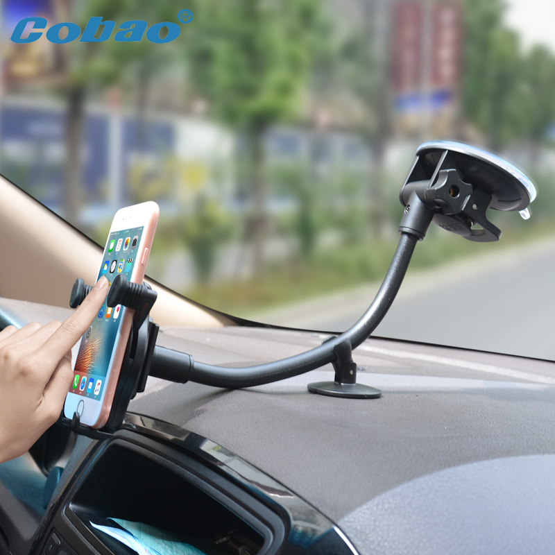Cobao 30cm Long Arm Car Mobile Phone Holder Stand 360 Rotatable Windshield Universal Phone Holder Car for iPhone 7 6 5 Samsung