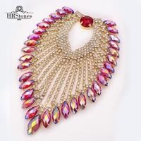 Red AB 9*12cm Shine Heart Tassel Gold Base Wedding Dress Belt Sewing On Rhinestones Applique Party Dress Decoration