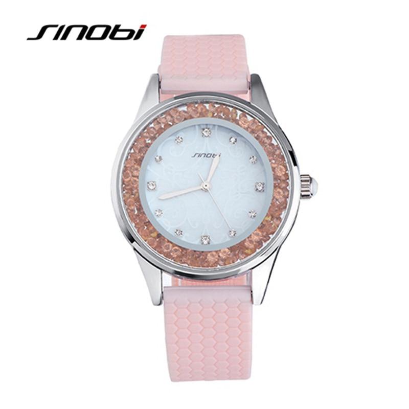 SINOBI Women s Wrist Quartz Silicone Watch with Diamond Case Ladies font b Fashion b font