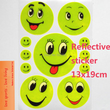 1 Sheet, 19x13CM Reflective safety sticker smile face for motorcycle,bicycle,kids toy,any where for visible safety