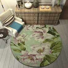 ALITEXTILEBTOC Round Plus Size Carpet For Home 100% Wool Jacquard Hand Carved Floral Tapis Salon Non-slip Parlor Soft