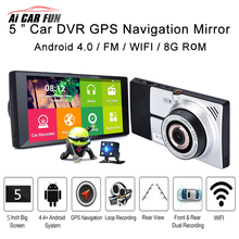 Big sale 2017 New 5″ 1080P HD Universal Car Touch Screen DVR Dual Lens Camera Android GPS Navigation WiFi + Map 3D Voice FM with G-sensor