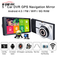 EUROPE MAP 5 1080P HD Universal Car Rearview Mirror DVR Dual Lens Camera Android GPS Navigation