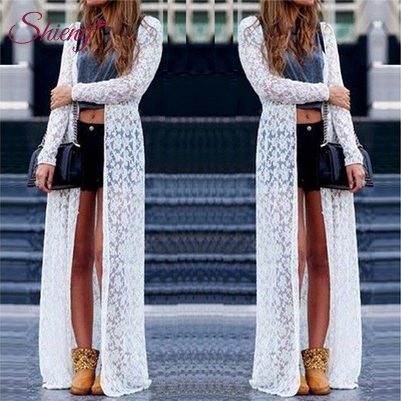 96b341fb2a5 Shieny Women Sheer Floral Lace Embroidered Cover Ups Plus Size Open Front  Long Beach Cover Ups Swimwear Cardigan Bathing Suit