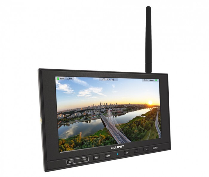 339/W 7 FPV Monitor With HDMI Input and single 5.8Ghz receiver 32 channels Auto Searching, Built-in Battery & Battery Level