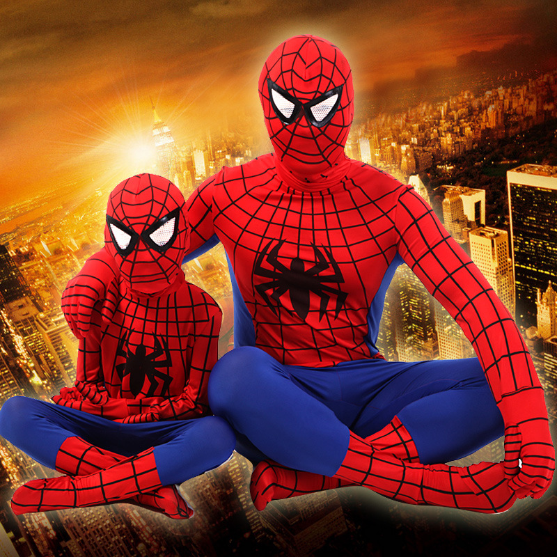 Halloween Spider Man Costumes Children Anime Cosplay Superhero Spiderman Lycra Tight Clothes Party Superman Costumes Gift