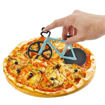 Bicycle Pizza Cutter Stainless Steel Blades with Non-stick Coating Pizza Tool Serveware Features Working Kick-stand Stand Holder нож для пиццы