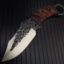 Faca de corte com lâmina de couro, aço carbono, para acampamento ao ar livre, caça, facas militares de sobrevivência táticas, com bainha de couro