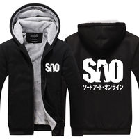 Anime Hoodies Clothing 2017 Sword Art Online Hoodie Thick Cotton Padded Clothes Thickening Cartoon Zipper Thicken