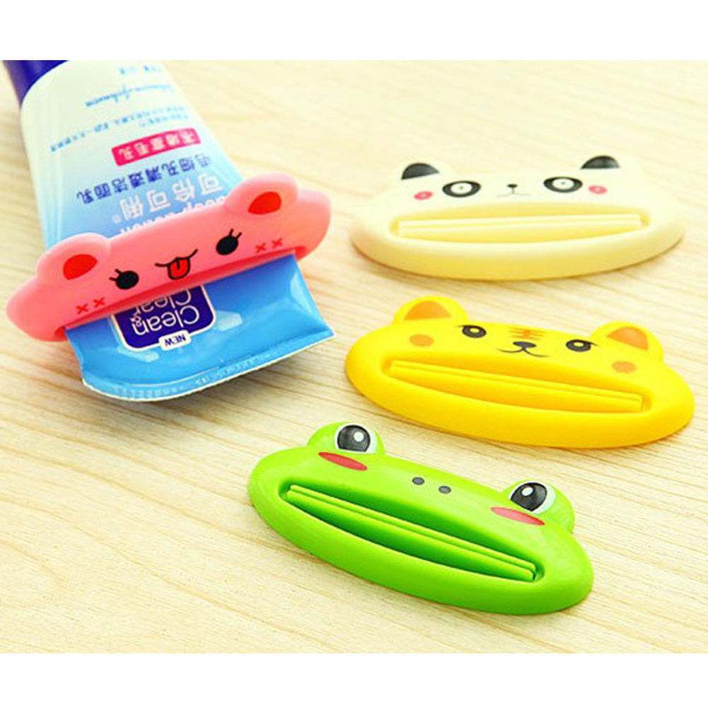 1Pc New Toothpaste Tube Squeezer Easy Squeeze Paste Dispenser Roll Holder Cartoon Frog/AnimalCat/Frog/Panda/Pig Hot Selling