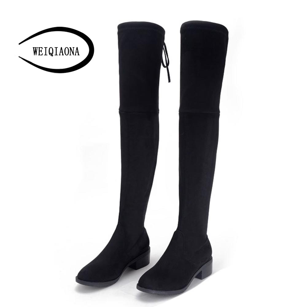 women boots Faux Suede Womens Thigh High Boots comfortable Flat Heel Comfort Fashion Slouchy Over the Knee Boots suede chunky heel womens thigh high boots