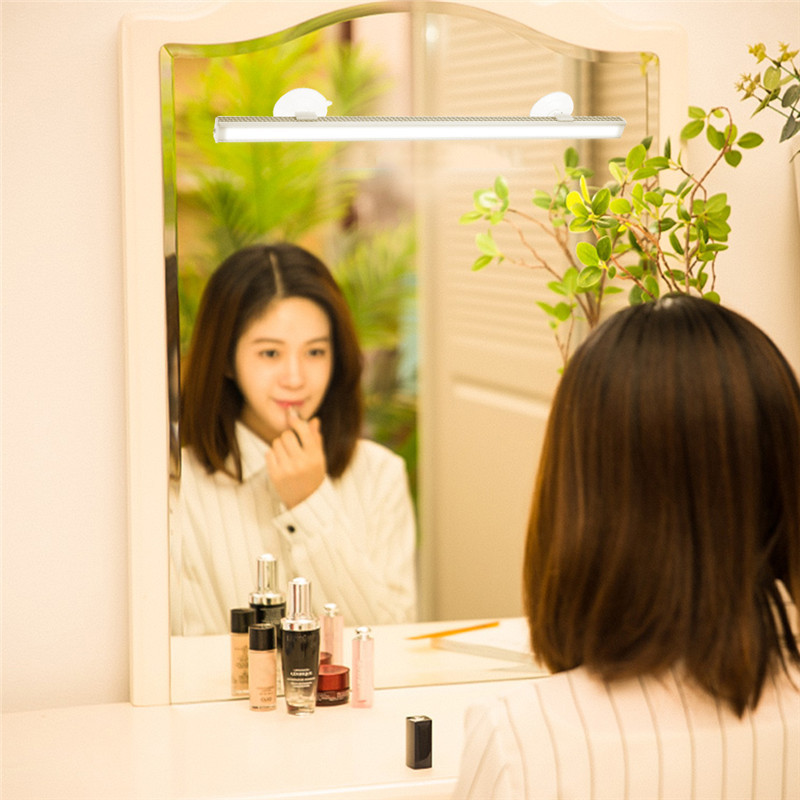 LAIDEYI Portable Make up Front Mirror Light Stepless Dimming Touch switch LED Vanity Bathroom Wall Lamp USB Mini Wall light Bar|LED Indoor Wall Lamps|   - title=