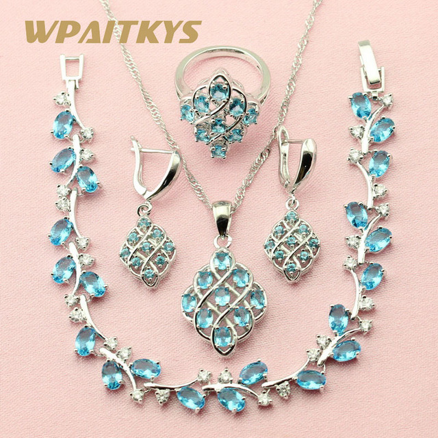 WPAITKYS Trendy Blue Cubic Zirconia 925 Sterling Silver Jewelry Sets For Women Jewelery Earrings Bracelet Necklace Ring Free Box