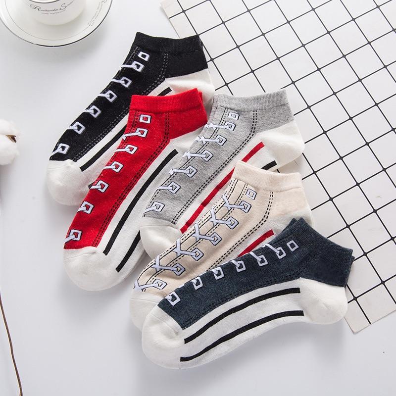 Jeseca New Women Jacquard Canvas   Socks   Slippers Funny Kawaii Women Short   Socks   Spring Summer   Socks   Invisible Non Slip   Socks