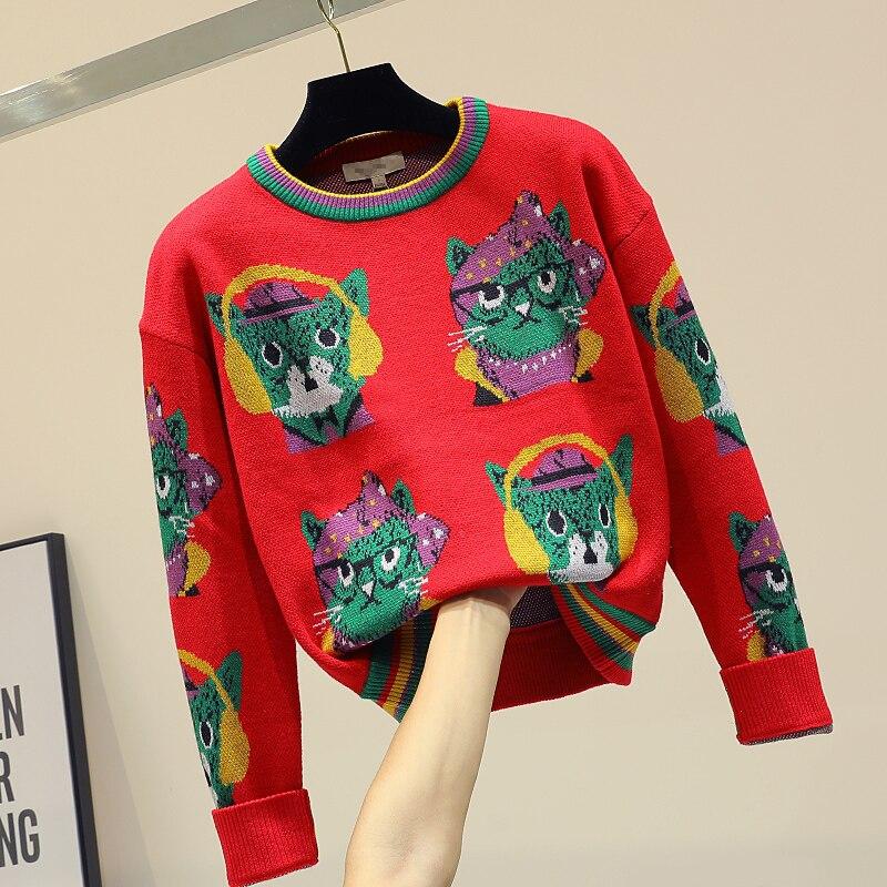 e3581ffa8e4f2 2018 Chaud Tricoté Rouge Kniwear Mode Tops Courte Nouvelle Couleur Jumper  De D'hiver Femme Dessinée Longues Chemise Manches Chandail ...