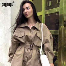 Gagaopt Vintage Single Breasted Khaki Trench Coat for Women With Belt Classic Ca