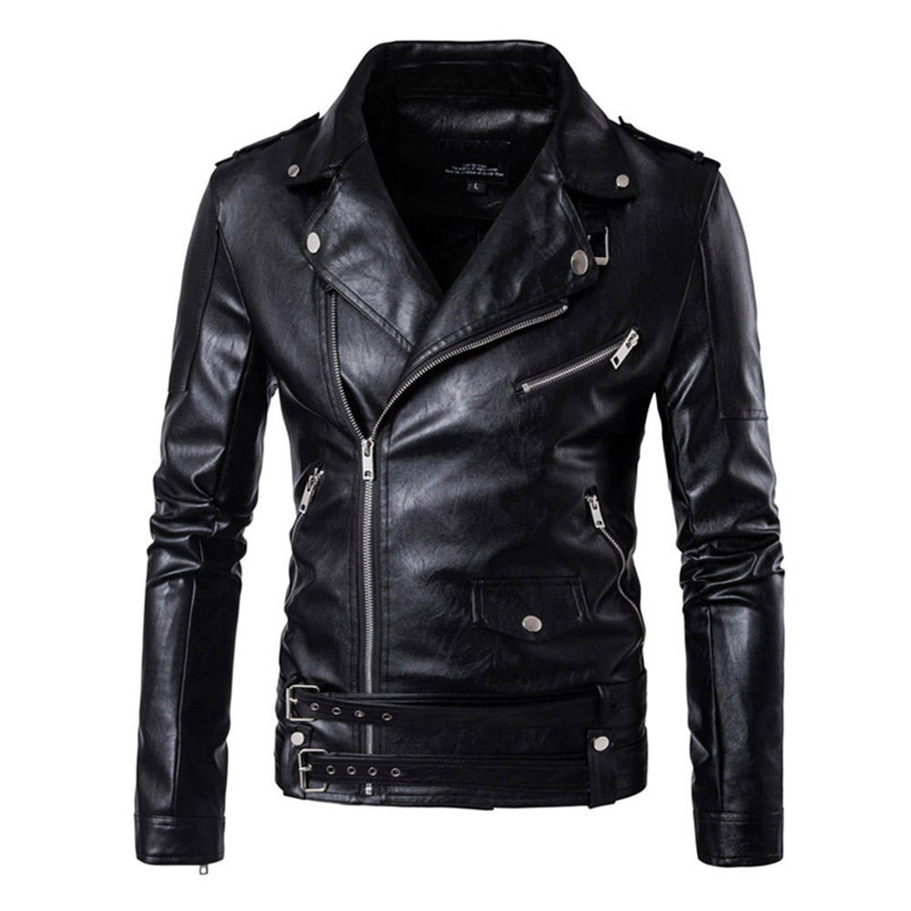 Herobiker Retro Faux Leather Motorcycle Jacket Men Moto Jacket Adjustable Waist Belt Windproof Motorbike Jacket Coats M-5XL men faux shearling plaid jacket