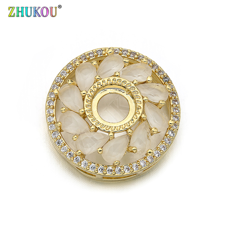 19*19mm New Fashion Brass Cubic Zirconia Round Shape Charms Connectors DIY Jewelry Findings Making,  Model: VS291
