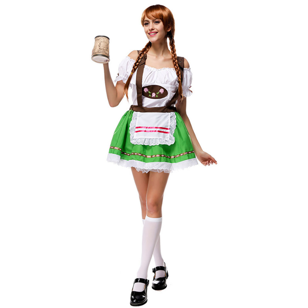Waitress Halloween Costume 50s diner betty waitress costume 50s costumes candy apple costumes Oktoberfest Beer Maid Dress Sweet Girl Waitress Beer Girl Green Fancy Dress Festival Costume Halloween Costumes