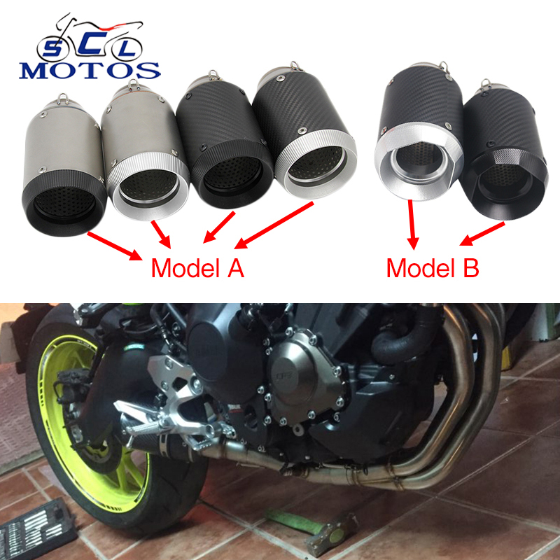 Sclmotos -51mm GP Moto Motorcycle Akrapovic Exhaust Muffle Pipe Moto Escape Racing for ATV Scooter Off Road NINJA Z800 S1000RR modified akrapovic exhaust escape moto silencer 100cc 125cc 150cc gy6 scooter motorcycle cbr jog rsz dirt pit bike accessories
