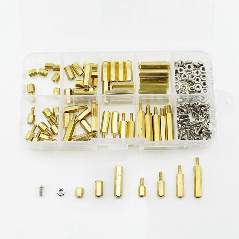 180pcs M2.5 Male Female Hex Brass Spacer Standoff Screw Nut Assortment Kit Hex Nut Spacing Screw zenhosit 300pcs female male brass copper m3 hex column spacer threaded screw nut pillars knurled standoff spacer kit