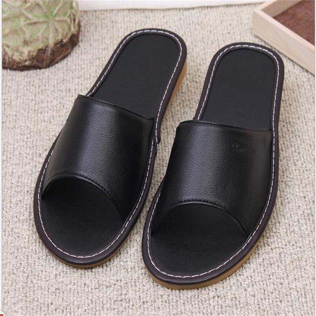 2bfc43405be8 Summer EU US Arab Regal New Tide Men Casual Indoor PU Leather Slippers  Black Blue Warcraft Print Cow Muscle Soft Bottom Slides