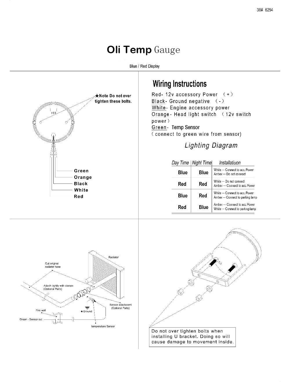 Hook up olie Temp gauge