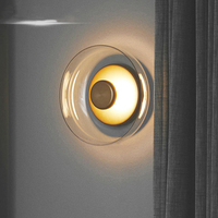 Postmodern Italy Design Luxurious Golden 7W Bowl Shade Led Wall Lamp Bedside Bedroom Living Room Background Wall Light Sconces
