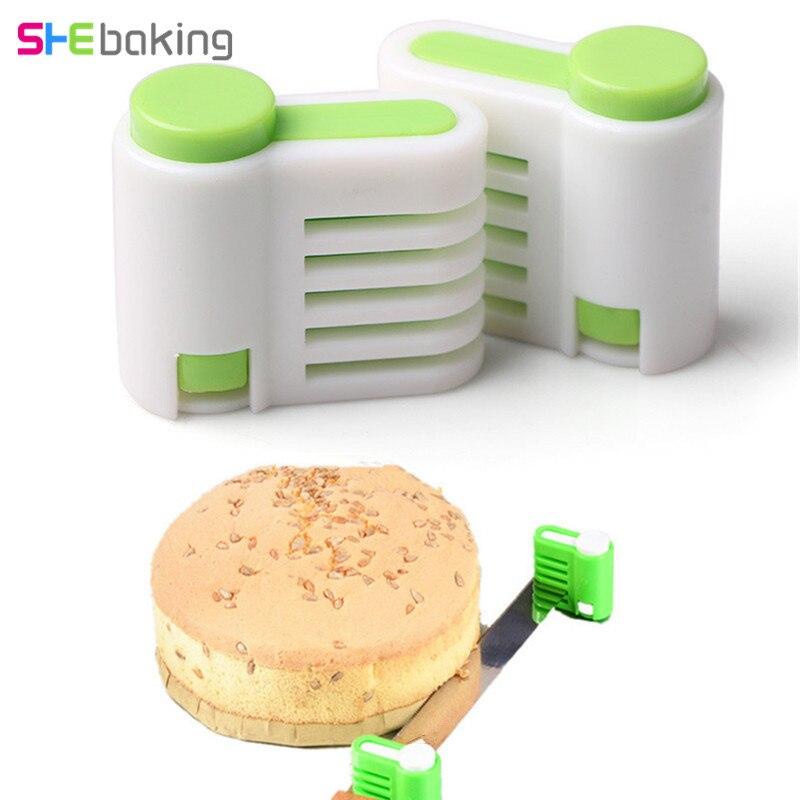 Shebaking 2pcs/set 5 Layers Bread Cutter Leveler Slicer Food-Grade Plastic Cake Bread Cutter Toast Slicer Kitchen Accessoies